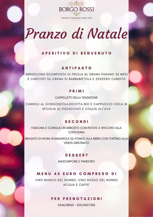 Menu di Natale al Borgo Rossi